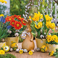 Húsvéti szalvéta - nyuszi virágok között