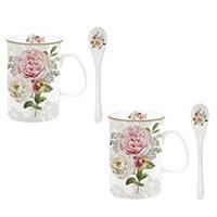 Rózsás porcelán bögre szett kanállal dobozban - Romantic Lace